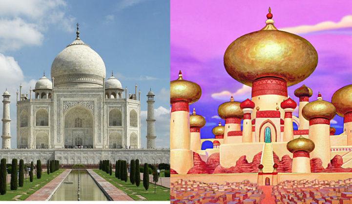 O palácio de Jasmine, da animação Aladdin, e o Taj Mahal, em Agra, na Índia