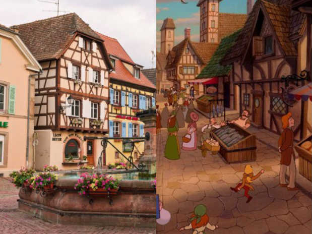 Cena de A Bela e a Fera e imagem da comuna francesa Colmar, que faz fronteira com a Alemanha e com a Suíça