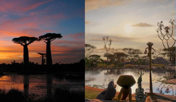 Cena da animação Madagascar e imagem da ilha na África