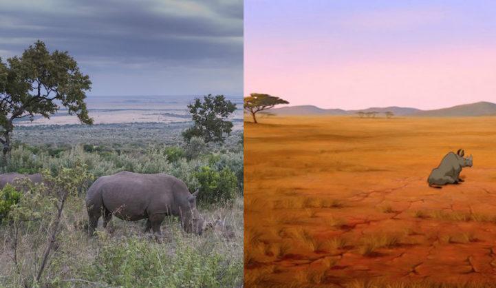 Cena de O Rei Leão e imagem da Reserva Nacional de Maasai Mara, no Quênia