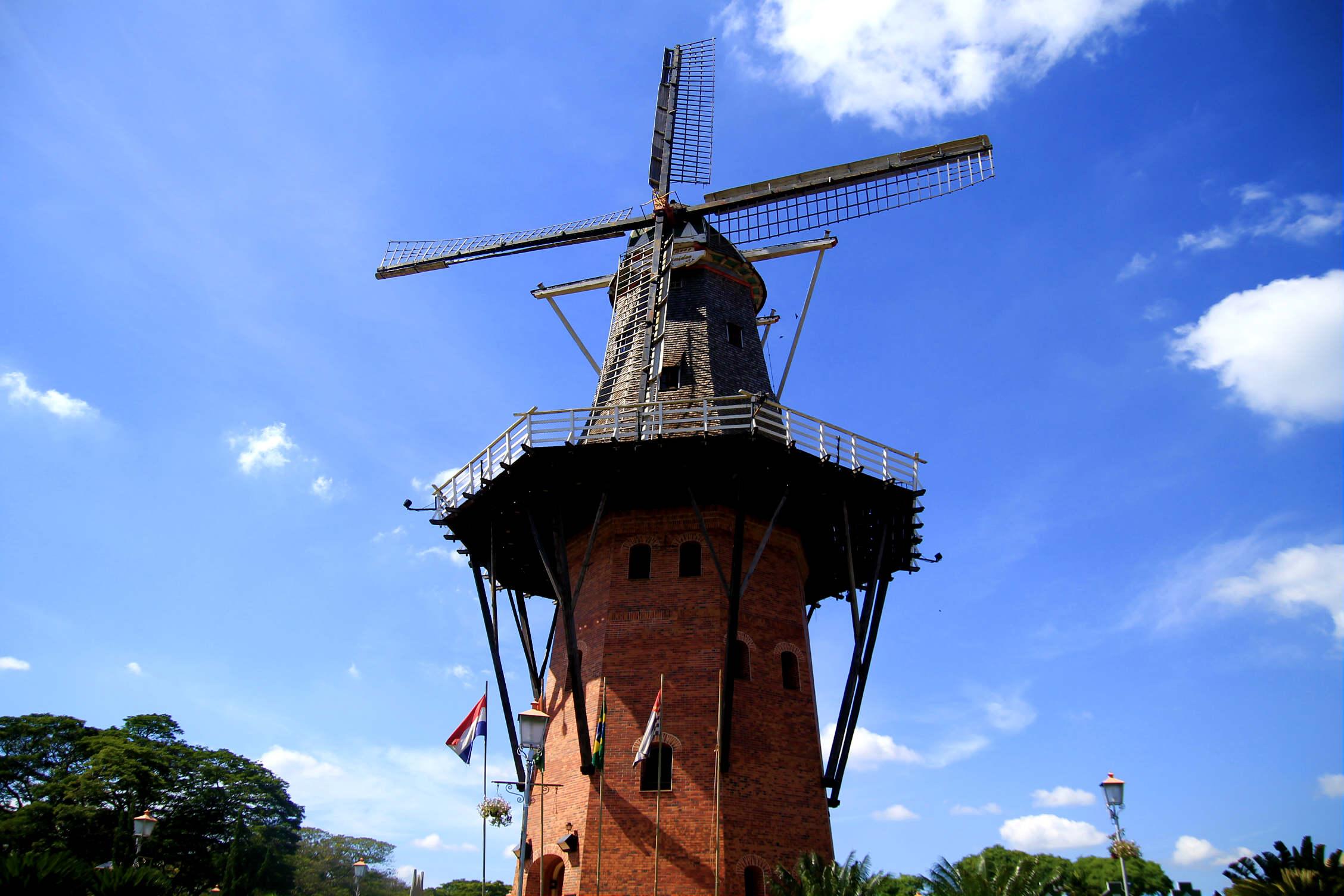 Moinho de 38 metros construído por um holandês (Foto: Thaís Sabino)